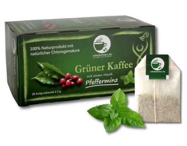 Grüner Kaffee m. leichtem Hauch Pfefferminze Portionsbeutel 20x3g