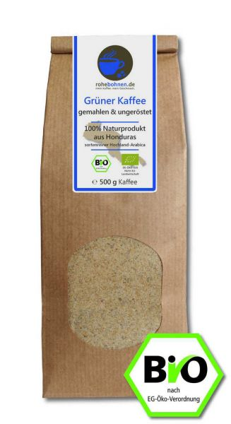 Organic green coffee ground - 100% Arabica