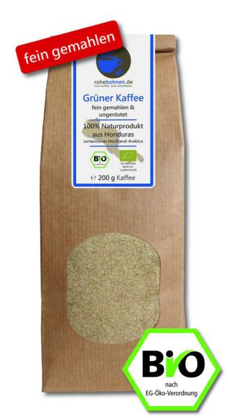 Organic green coffee - finely ground
