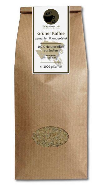 Grüner Kaffee gemahlen 100% Robusta Indien